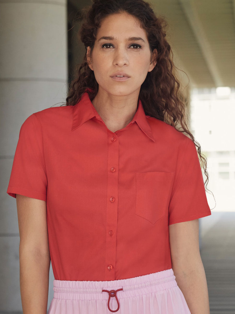 Ladies' Short Sleeve Poplin Shirt