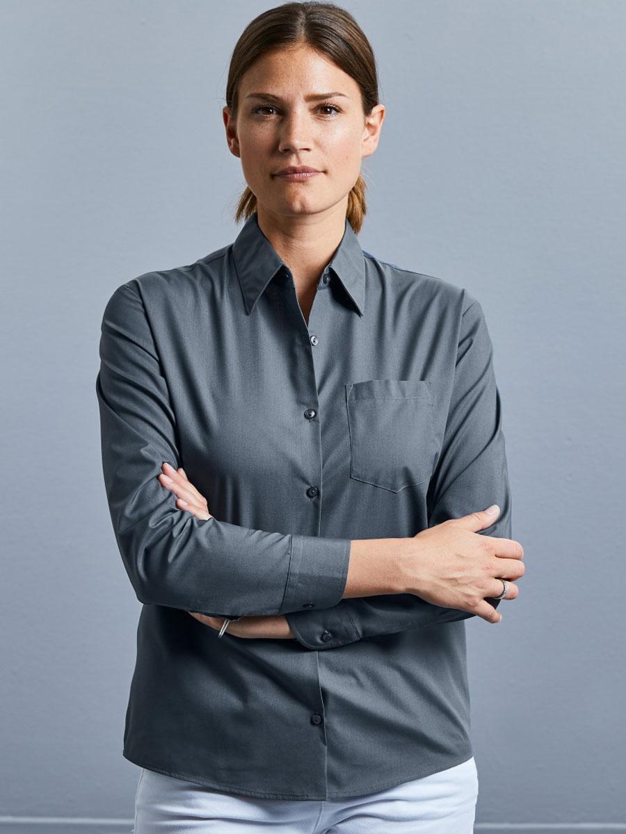 Ladies' Long Sleeve Polycotton Easy Care Poplin Shirt