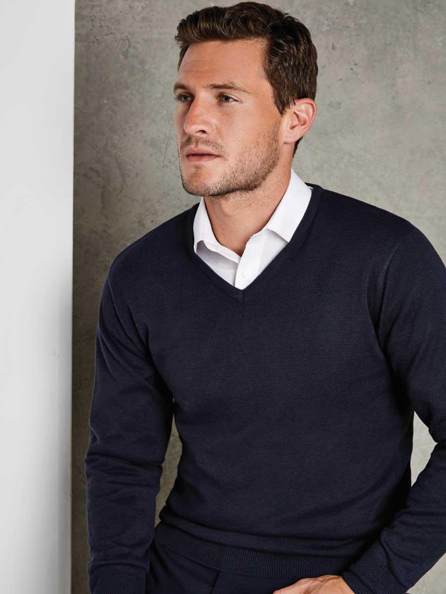 Men Regular Fit Arundel Long Sleeve V-Neck Sweater
