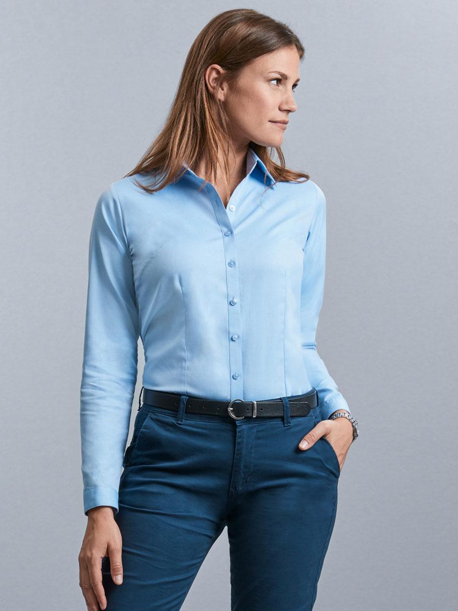 Ladies' Long Sleeve Herringbone Shirt