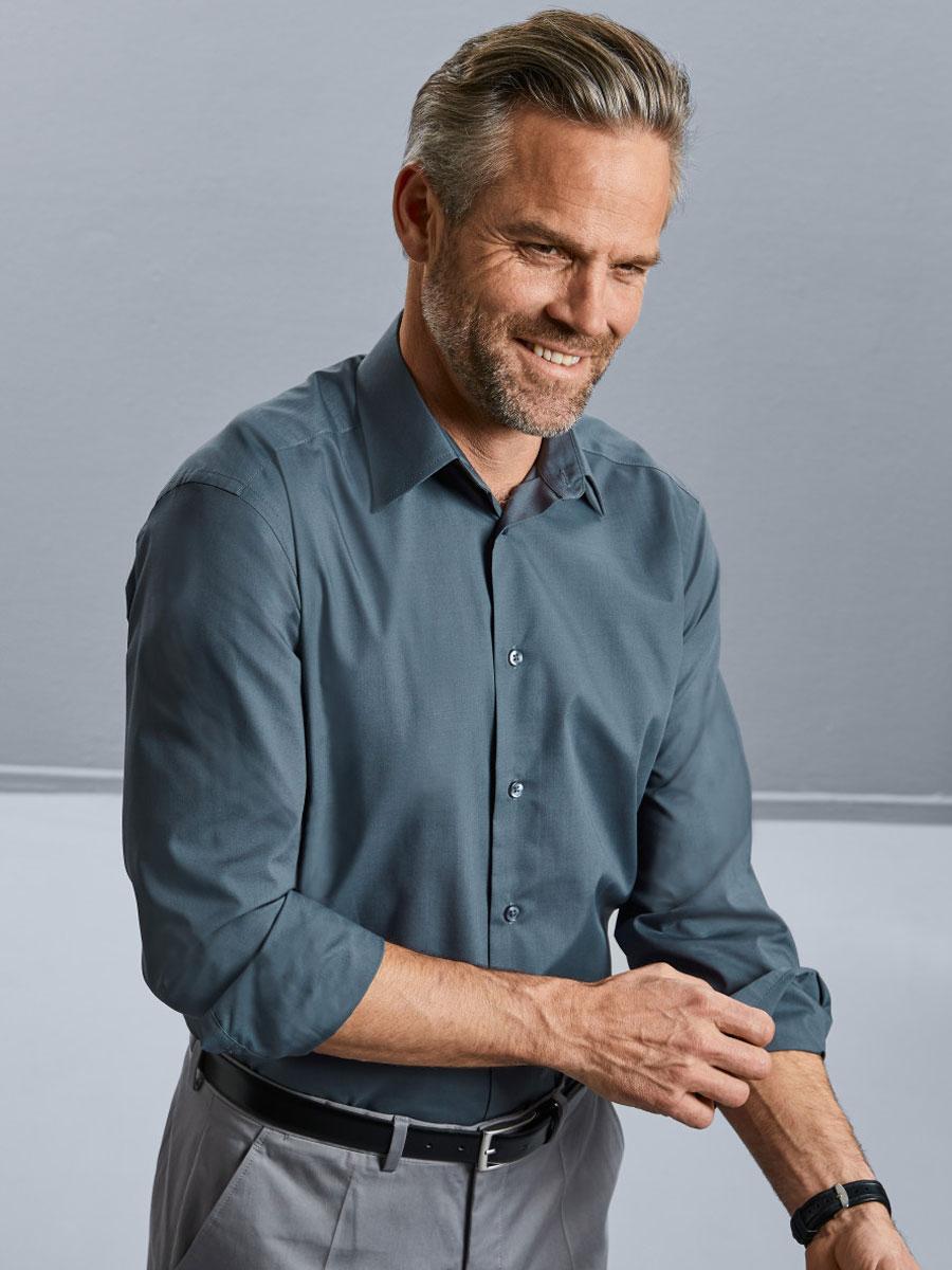 Men's Long Sleeve Polycotton Easy Care Tailored Poplin Shirt