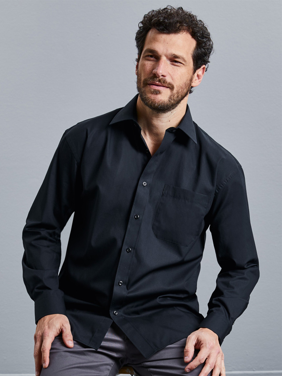 936M Men's Long Sleeve Pure Cotton Easy Care Poplin Shirt