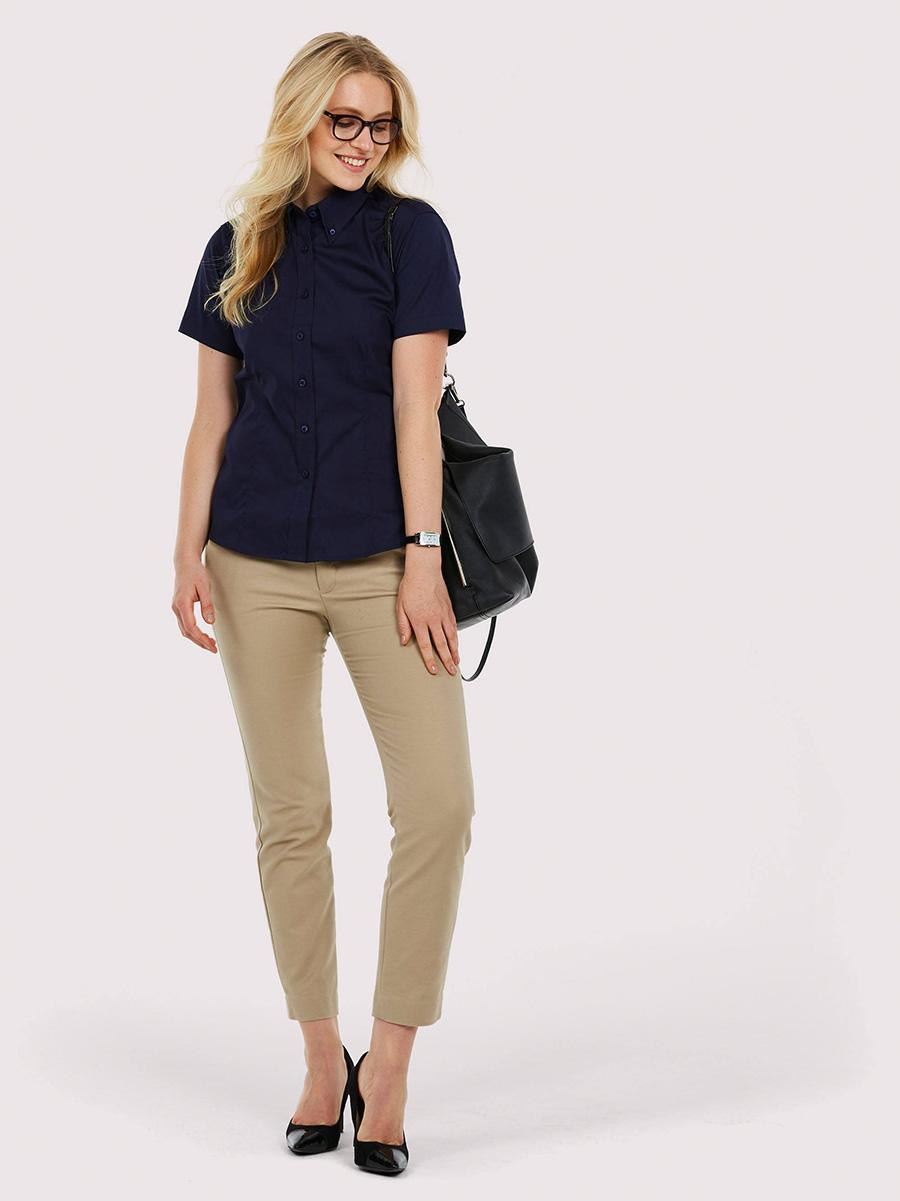 UC704 Ladies Pinpoint Oxford Half Sleeve Shirt